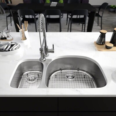 Stainless Steel 35 x 21 Double Basin Undermount Kitchen Sink with Cutting Board, Grid , Basket and Standard Strainers