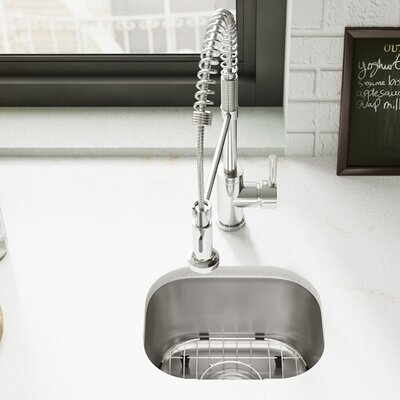Stainless Steel 15 x 13 Undermount Bar Sink with Cutting Board, Grid and Basket Strainer
