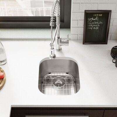 Stainless Steel 15 x 19 Undermount Bar Sink with Cutting Board, Grid and Basket Strainer