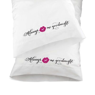 2 Piece Kiss Me Good Night Pillow Case Set