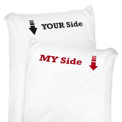 2 Piece My Side & Your Side Pillow Case Set
