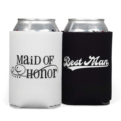 2 Piece Maid of Honour & Best Man Can Cooler Set 11044