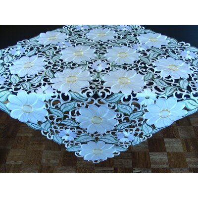 Ellendale Daisy Embroidery Tablecloth Size: 36