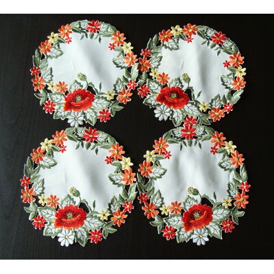 CherryHill Red Poppy Embroidery Placemat Size: 8