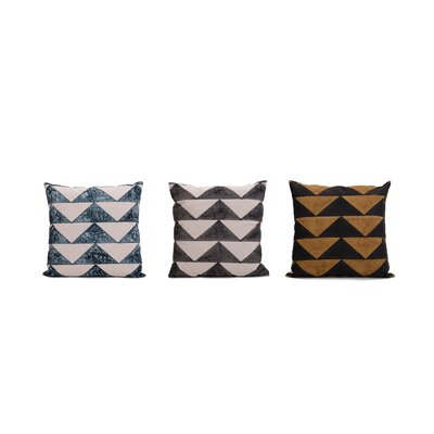 Allums Triangles 100% Throw Pillow Color: Yellow/Blue/Black, Set of: 3