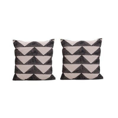 Allums Triangles 100% Throw Pillow Covers Color: Black, Set of: 2