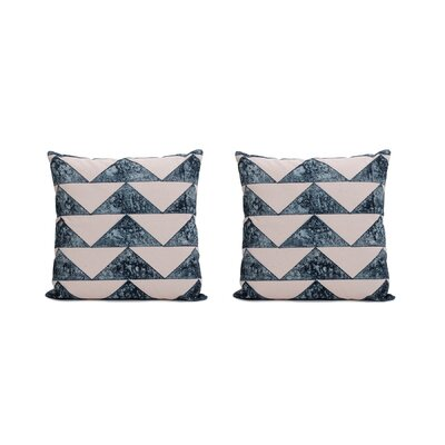 Allums Triangles 100% Throw Pillow Covers Color: Blue, Set of: 2