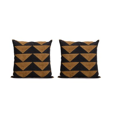 Allums Triangles 100% Throw Pillow Covers Color: Yellow, Set of: 2