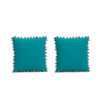 Blythe PomPoms 100% Cotton Pillow Cover Color: Blue