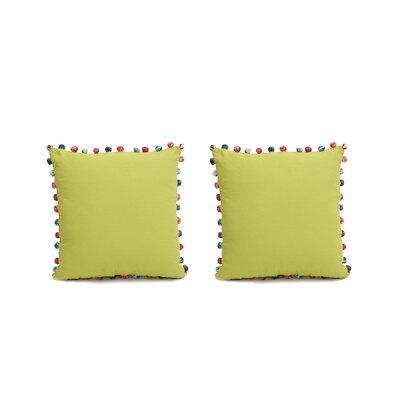 Blythe PomPoms 100% Cotton Pillow Cover Color: Green