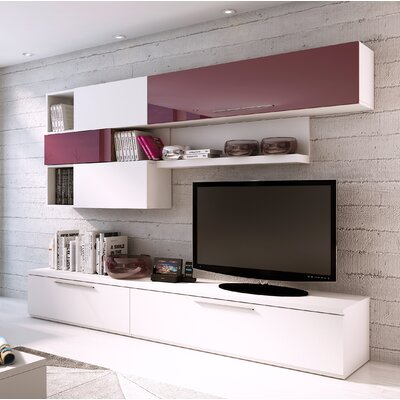 Dupras 102.4 Entertainment Center Color: White/Garnet