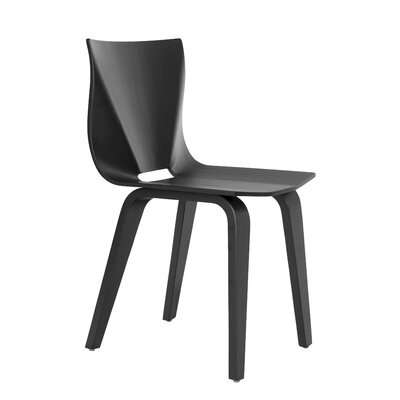 V Solid Wood Dining Chair Finish: Black