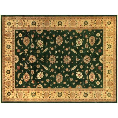 Xenos Hand-Knotted Wool Green Gold Area Rug