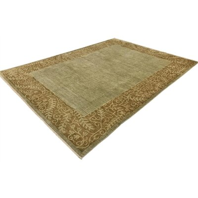 Alpert Hand-Knotted Wool Light Green/Brown Area Rug