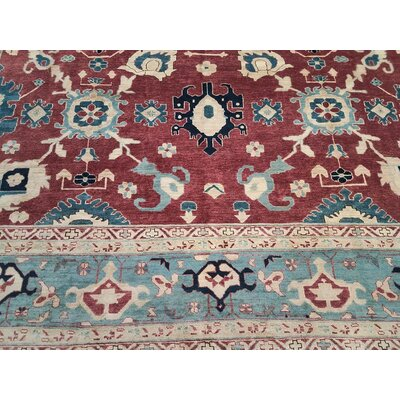 Xenos Hand-Knotted Wool Red/Light Blue Area Rug