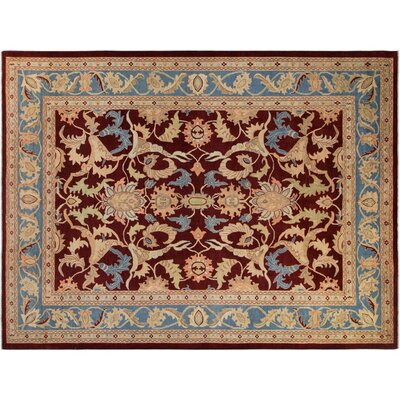 Xenos Hand-Knotted Wool Burgundy/Light Blue Area Rug