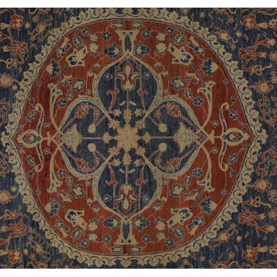 Badham Hand-Knotted Wool Blue/Rust Area Rug