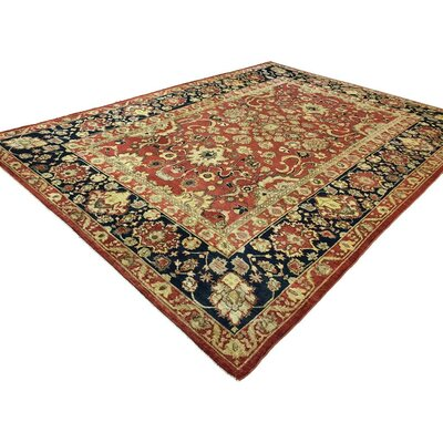 Badham Hand-Knotted Wool Rust/Blue Oriental Area Rug