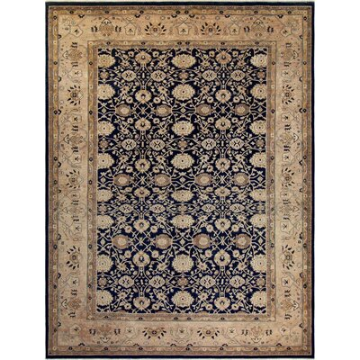 Xenos Hand-Knotted Wool Navy Area Rug