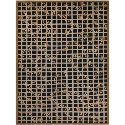 Badham Hand-Knotted Black Area Rug