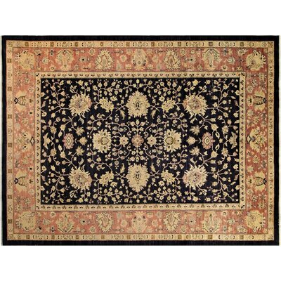 Badham Hand-Knotted Wool Blue/Pink Area Rug