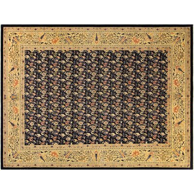 Xenos Hand-Knotted Rectangle Wool Blue/Gold Area Rug