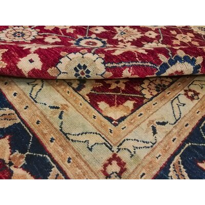 Badham Hand-Knotted Wool Red Area Rug