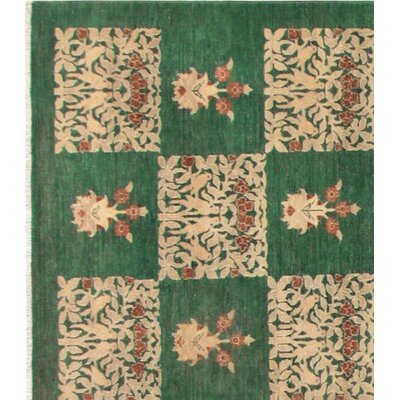 Badham Hand-Knotted Wool Green Area Rug