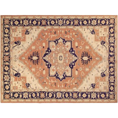 Barnegat Hand-Knotted Wool Orange/Blue Area Rug