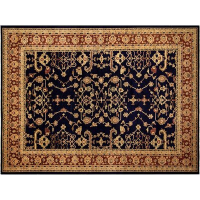 Badham Hand-Knotted Rectangle Wool Blue/Red Area Rug