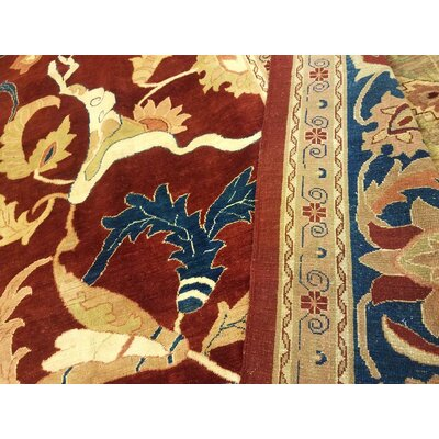 Badham Hand-Knotted Wool Red/Blue Area Rug