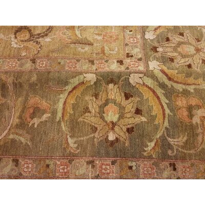 Badham Hand-Knotted Wool Gold/Green Area Rug
