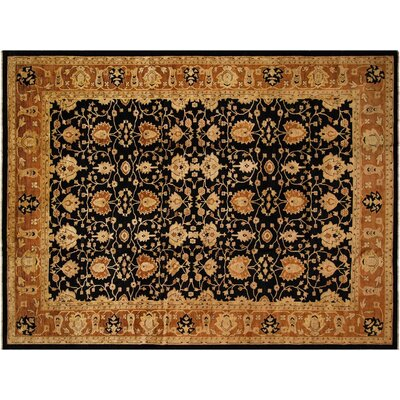 Badham Hand-Knotted Wool Black/Rust Area Rug