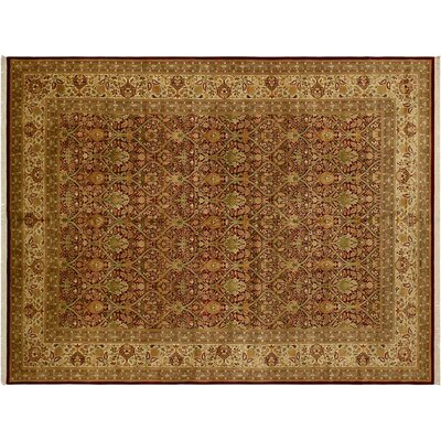 Bath Hand-Knotted Wool Dark Red/Gold Area Rug