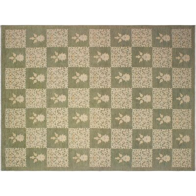 Badham Hand-Knotted Wool Green/Tan Area Rug
