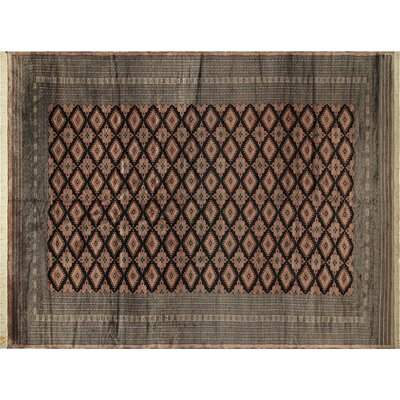 Bakerstown Hand-Knotted Wool Black/Light Brown Area Rug