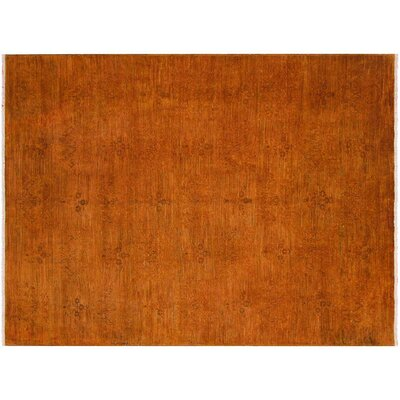 Badillo Hand-Knotted Wool Orange Area Rug