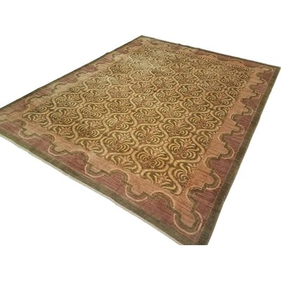 Badham Hand-Knotted Wool Green/Light Brown Area Rug