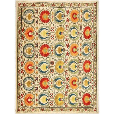 Badham Hand-Knotted Wool Ivory/Blue Oriental Area Rug