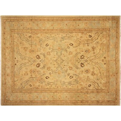 Badham Hand-Knotted Rectangle Wool Ivory/Blue Area Rug