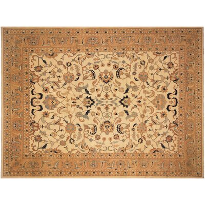 Badham Hand-Knotted Wool Ivory/Orange Area Rug