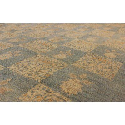 Badham Hand-Knotted Wool Light Blue/Gold Area Rug
