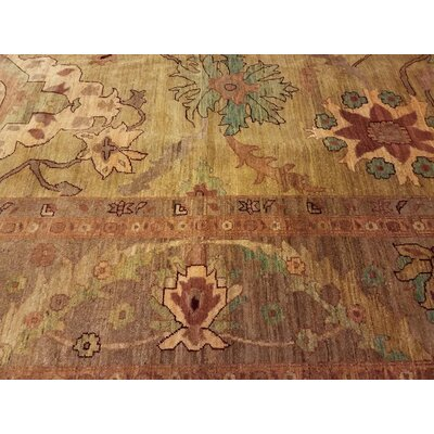 Badham Hand-Knotted Wool Gold/Light Brown Area Rug