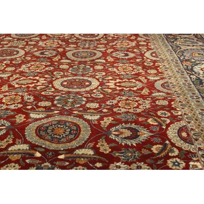 Bath Hand-Knotted Wool Red/Blue Area Rug