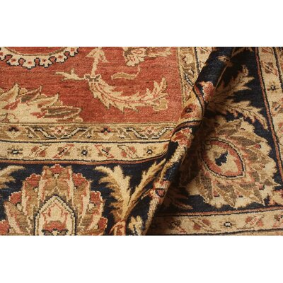 Badham Hand-Knotted Wool Rust/Blue Area Rug