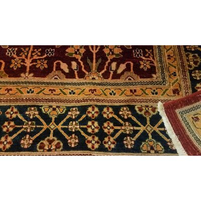 Badham Transitional Hand-Knotted Wool Red/Blue Area Rug