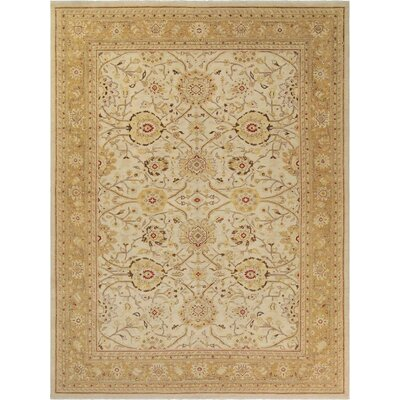 Xenos Hand-Knotted Rectangle Wool Ivory/Gold Area Rug