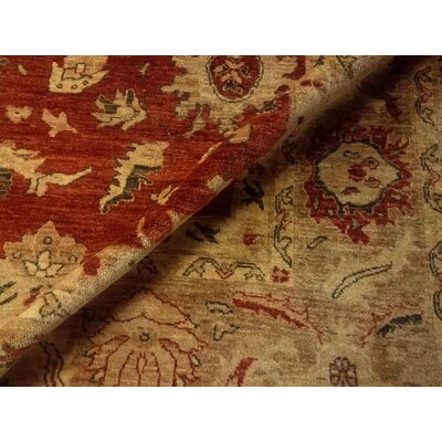 Badham Hand-Knotted Wool Red Oriental Area Rug