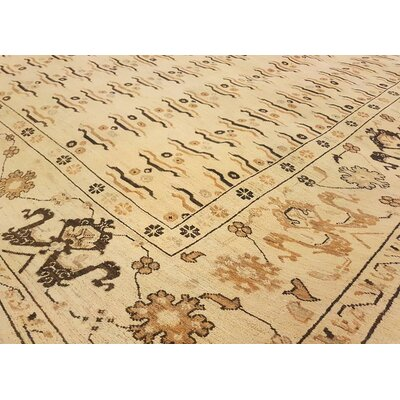 Badham Hand-Knotted Rectangle Wool Light Tan Area Rug