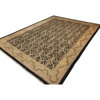 Badham Hand-Knotted Rectangle Wool Black Area Rug
